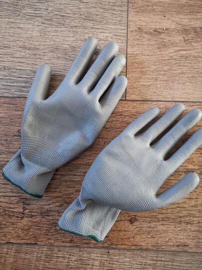 新越昌晖劳保手套涂指耐磨 pu涂胶防滑手套棉手套 男女工地工作手套/5副M码绿B11406 晒单图