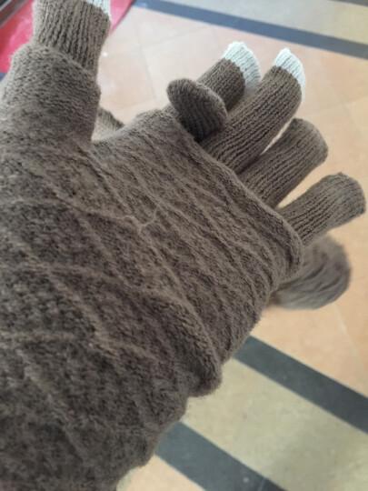 卡兰薇触摸屏手套韩版学生可爱全指骑车针织手套两种戴法 紫色 晒单图