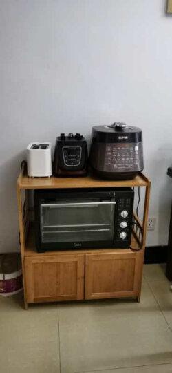 竹人坊 楠竹餐边柜厨房碗柜储物柜落地微波炉柜茶水柜简易烤箱柜子家用电器柜带门实木客厅收纳柜子餐厅橱柜 三层厨柜 晒单图