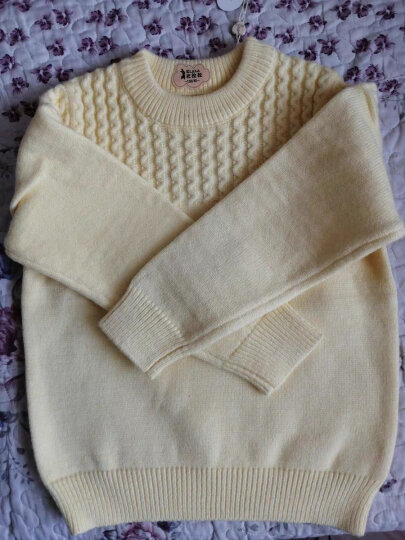 衣拉拉1-10岁儿童毛衣 春秋季女孩圆领毛衣线衣上衣单件儿童套头针织衫中小童 球球的口袋(原白) 140码/建议身高125-130cm 晒单图