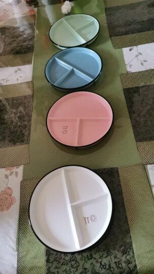 舍里 可爱糖果色笑脸陶瓷早餐分格盘家用西餐盘子牛奶咖啡马克杯 绿色三件套 晒单图