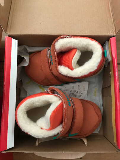 基诺浦冬款1-5岁宝宝机能鞋羊毛加厚保暖棉鞋宝宝学步鞋TXG828 桔色 8码/适合脚长14.5cm左右 晒单图