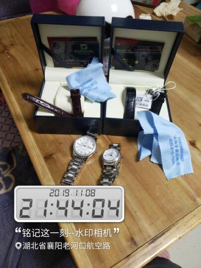 七夕礼物|嘉年华(Carnival)手表男士机械表时尚商务夜光防水双日历男表8629 银边白面钢带 晒单图