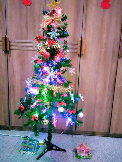 格瑞芬(Gryffon) 圣诞树套餐圣诞装饰品圣诞帽子礼品礼物彩灯 1.5米加密豪华套餐(106配件+光纤花灯) 晒单图