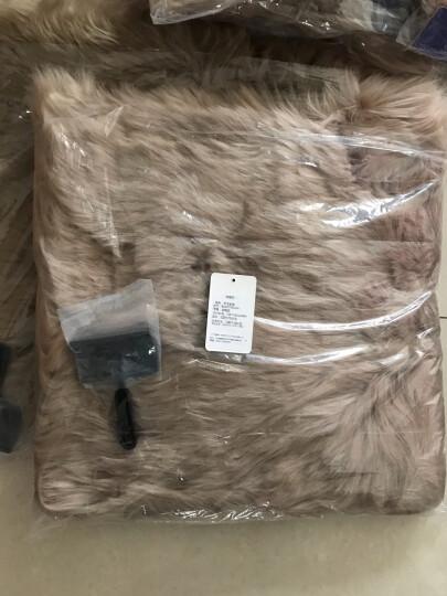 BOOST 羊毛坐垫中长毛座垫冬季汽车坐垫套毛垫现做缝制 车垫羔羊皮B款小方垫45×45cm棕红 晒单图