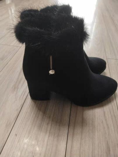 盾狐2019新款短筒女靴粗跟尖头水钻加绒高跟女短靴防水台裸靴时尚袜靴 DH6951红色 38 晒单图