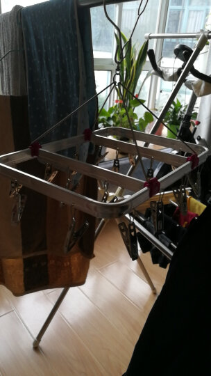 嘉仕和晒衣架 铝合金框架 不锈钢夹子 多用晾衣架衣服架16夹JH916 晒单图