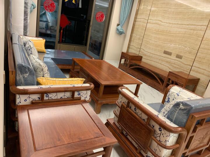周家庄 红木家具非洲花梨(学名:刺猬紫檀)实木沙发 新中式客厅沙发组合 软体布艺转角贵妃沙发 组合一(贵妃沙发+大平几+单人位+1角几) 晒单图