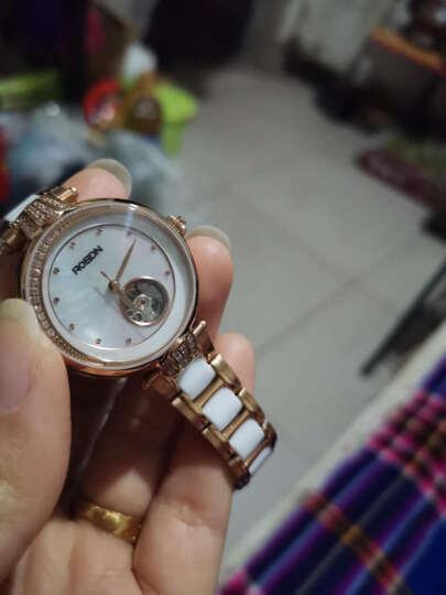 劳士顿(ROSDN)女士手表 时尚潮流镂空陶瓷女表全自动机械镶钻女表钟表 2619 玫金白 晒单图
