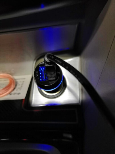 飞利浦迷你车载手机充电器快充12V/24V汽车充电器充电头点烟器一拖二DLP2357黑色 DLP2357黑色(2USB快充炫彩) 晒单图