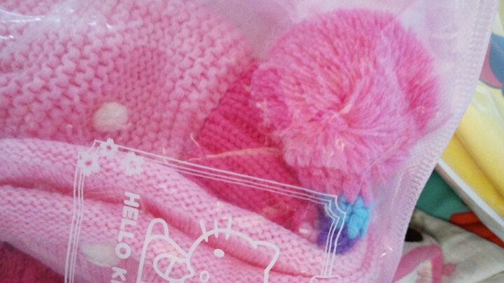 凯蒂猫(HELLO KITTY)女童帽子围巾两件套装儿童保暖针织围脖毛线帽 KT9001 粉红色均码/适合2-6岁 晒单图