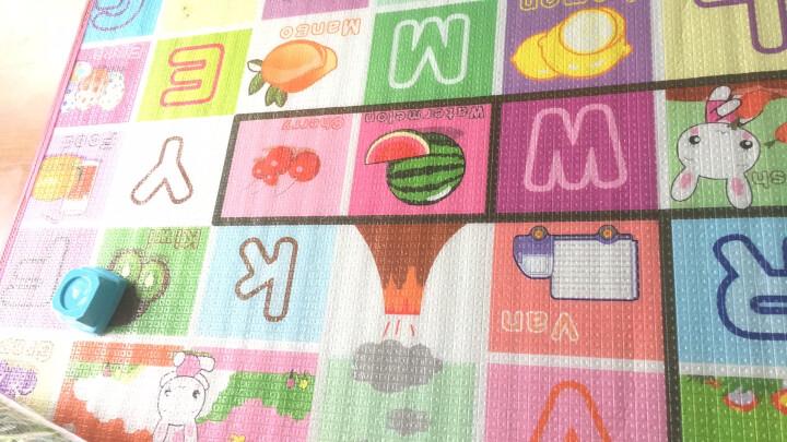 双面环保宝宝爬行垫毯婴儿童爬爬垫加厚2cm幼儿游戏地垫毯泡沫垫 水果英文+动物世界加厚2cm 大号200cm*180cm 晒单图