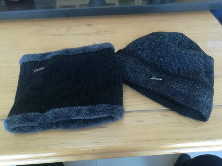 俞兆林 帽子男冬保暖加厚毛线帽加绒围脖针织帽骑行防风户外冬棉帽 羊毛混纺套帽 灰色 晒单图