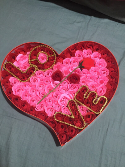 I'M HUA HUA创意礼品表白99朵香皂玫瑰花桃心礼盒鲜花速递七夕情人节礼物生日结婚纪念日送女友送女生 晒单图