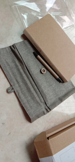 kinbor  简约文具礼盒套装(记事本子日记本/棉麻手拿收纳包/圆珠笔)留白DT5143 晒单图