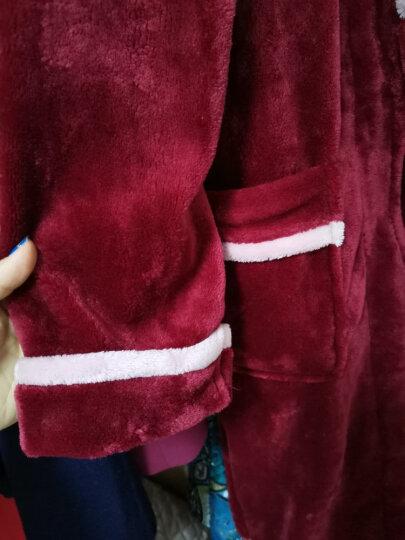 琼瑛法兰绒情侣睡袍男女士浴袍春秋冬季珊瑚绒睡衣加厚浴衣家居服 1903男酒红一件 XXL 晒单图