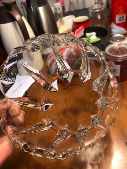 Delisoga 玻璃水果盘 创意冰恋款深碗 大号大容量(梦幻蓝) 欧式果斗糖果干果篮 坚果零食沙拉盘 客厅家用装饰 晒单图