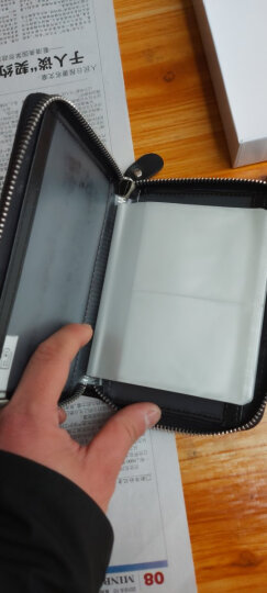 奥菲姆(OFLM)卡包女 牛皮40卡位名片卡夹卡片包男 拉链护照包驾驶证皮套卡套KB-40 黑色 晒单图