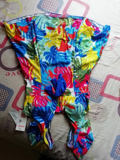 海波特(SEA'BBOT)泳衣女保守遮肚显瘦钢托游泳衣连体裙式平角妈妈大码温泉泳装 蓝叶子 XXXL 晒单图