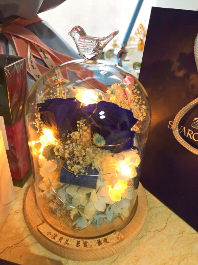 依雯然进口永生花礼盒生日礼物玻璃罩玫瑰奥斯汀鲜花速递结婚纪念日礼物七夕情人节送女生送女友爱人 喜欢你【送夜灯、刻字】 晒单图