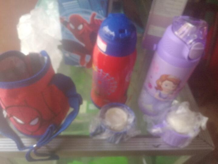 迪士尼(Disney)儿童保温杯幼儿园宝宝喝水杯子小学生男女保温壶带手柄防喷学饮杯吸管杯380ml蓝色汽车 晒单图