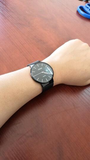 艾诺(AILUO)手表男士钢带休闲运动多功能防水男表石英情侣手表钟表 本色黑面银钉三针7091 晒单图