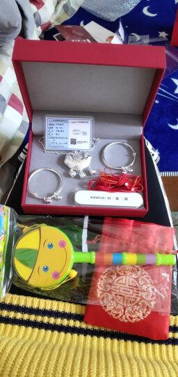 银意坊宝宝银手镯9999足银长命锁小孩纯银手环儿童满月周岁礼 婴儿长命锁套装 晒单图