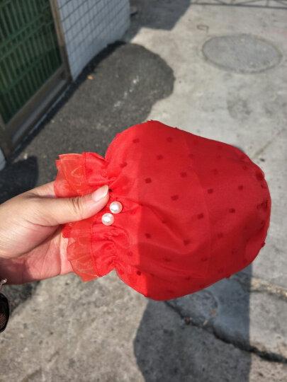 UYUK双层蕾丝袖套女短款防尘护袖日常办公套袖防污精品手袖套子不透款 大红色 珍珠 晒单图