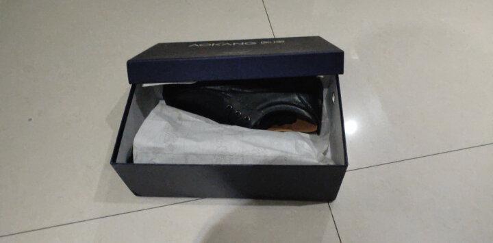 奥康(Aokang)男鞋男士商务休闲鞋英伦舒适低帮圆头系带皮鞋193212070/G93212070 黑色41码 晒单图
