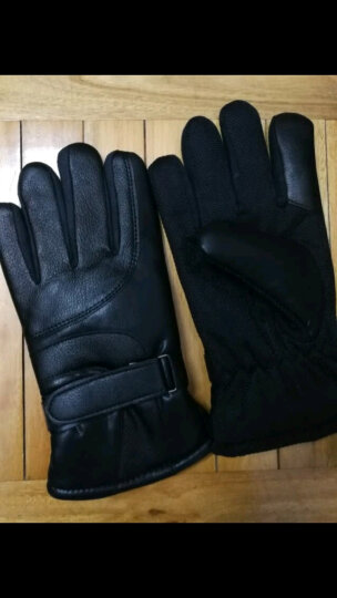 博沃尼克 手套男士冬季防寒保暖 骑行滑雪摩托车电动车加厚手套 黑色触屏皮质款 晒单图