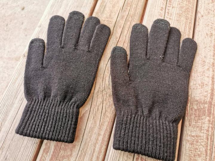 杜森纳 男女保暖加厚毛线手套男士触屏冬季防寒保暖加厚开车防滑户外手套 黑色 晒单图