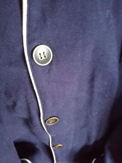 芬腾睡衣男士春秋款纯色纯棉长袖开衫翻领大码全棉休闲家居服套装 宝兰 男款XL(175/92A) 晒单图
