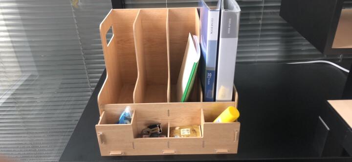 得力(deli)木制DIY创意多层组合收纳盒 多功能桌面收纳座/文件框/文件架 原木色 晒单图