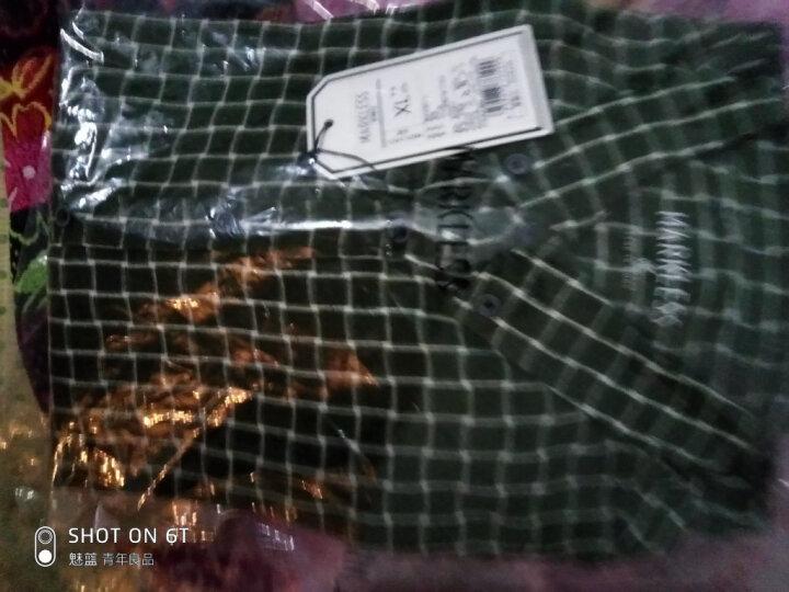 MARKLESS 长袖衬衫男秋季韩版方领修身格子衬衣休闲磨毛上衣CSA7539M 绿格 170/88(M) 晒单图