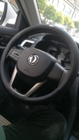 WRC 汽车方向盘套运动把套 整张牛皮一个接口 车用头层牛皮 透气吸汗防滑 四季通用 中号黑色 晒单图