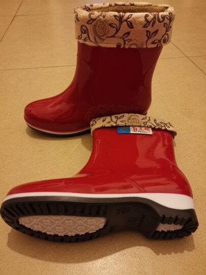 WEINIWOLF雨鞋男女低筒保暖加绒成人水靴加厚防滑水鞋耐磨雨靴防水鞋子 蓝色加棉套拍大一码 37/230mm 晒单图