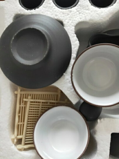 辉跃青花茶具 紫砂功夫茶具套装陶瓷青瓷整套冰裂茶具壶电磁炉实木茶盘四合一托盘 款三侧把壶内白载物黑色399 晒单图