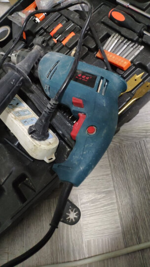 安捷顺家用冲击钻五金工具箱多功能迷你轻微小型正反转两用调速手电钻砖充电锂电钻电动螺丝刀起子维修套装 220V  BS-全能套装 晒单图