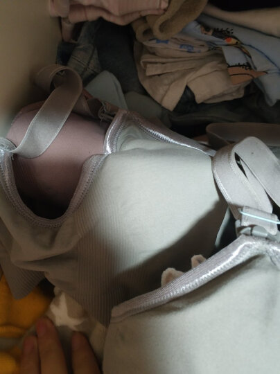 【第2件5折】浪莎(langsha)哺乳文胸透气无钢圈全罩杯无痕喂奶胸罩大码聚拢孕妇内衣 豆沙紫 M 晒单图