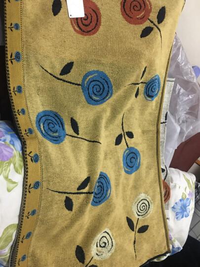金号毛巾家纺 提素螺绣 纯棉枕巾 柔软透气单人枕头巾 一对2条装 蓝色 50*80cm 晒单图
