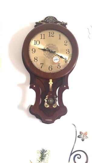 凯恩斯(KAIENSI) 挂钟客厅欧式复古时钟摇摆石英钟表卧室静音个性时尚创意木质挂表家用 1340H罗马数字金属表盘 16英寸 晒单图