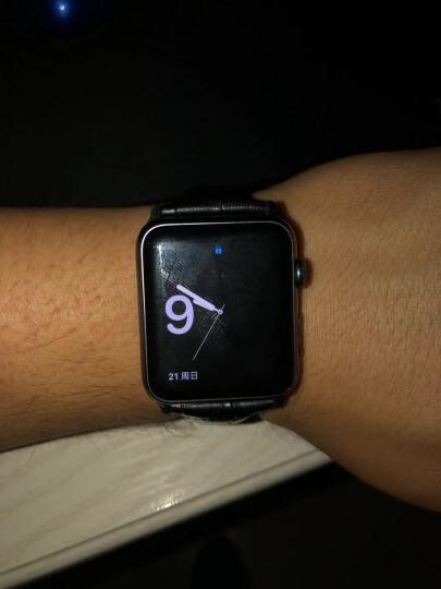 洽利(QIALI)进口真皮智能手表iwatch2/3/4表带 适用于Apple watch/苹果手表 42mm咖啡色 带不锈钢连接器+蝴蝶扣 晒单图