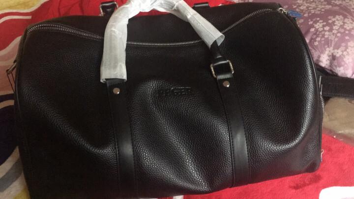 斐格男士旅行包手提真皮男女旅行袋大容量行李包出差运动健身包单肩包男包 棕色 晒单图