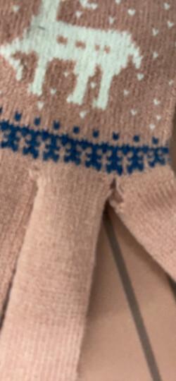卡兰薇 触摸屏毛线手套男女冬季韩版情侣全指防滑手套骑车保暖加绒加厚 7016-深蓝色 晒单图