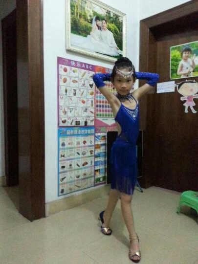 猫度MAODU儿童拉丁舞服装演出服女童舞蹈比赛服少儿流苏连衣裙演出服六一表演服MD117 蓝色(七件套含头饰耳坠) L 晒单图