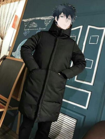 LeoHan羽绒服男中长款2017冬季新款修身连帽长款外套青年加厚大衣潮 黑色 XXXL/190(建议165-180斤) 晒单图