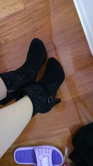 哈森圆头粗跟超高跟防水台羊皮绒蕾丝布短靴女靴HA49029 黑色 38 晒单图