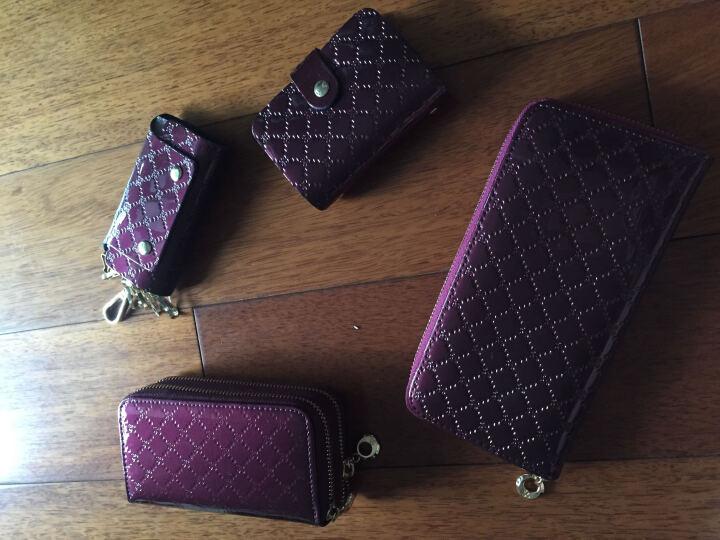 诗薇儿(Svale)女士牛皮钱包四件套菱格系列长钱包卡包钥匙包4-3098V紫色 晒单图