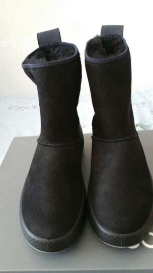 ECCO爱步秋冬靴子女中跟高帮圆头套脚女短靴雪地靴毛毛鞋女 暖冬221003 黑色22100351052 36 晒单图