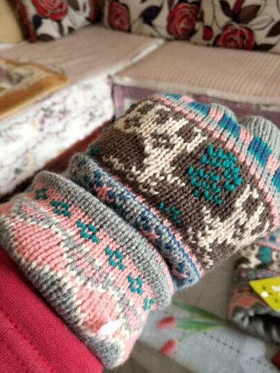 公主兔秋冬天冬季韩版毛线手套女士可爱雪花小鹿针织厚保暖分指五指手套 浅灰小鹿 晒单图